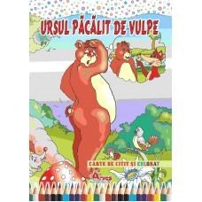 Ursul păcălit de vulpe - carte de citit și colorat